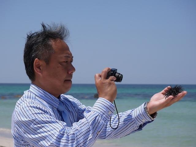 11角島海岸、うに、カメラ.JPG